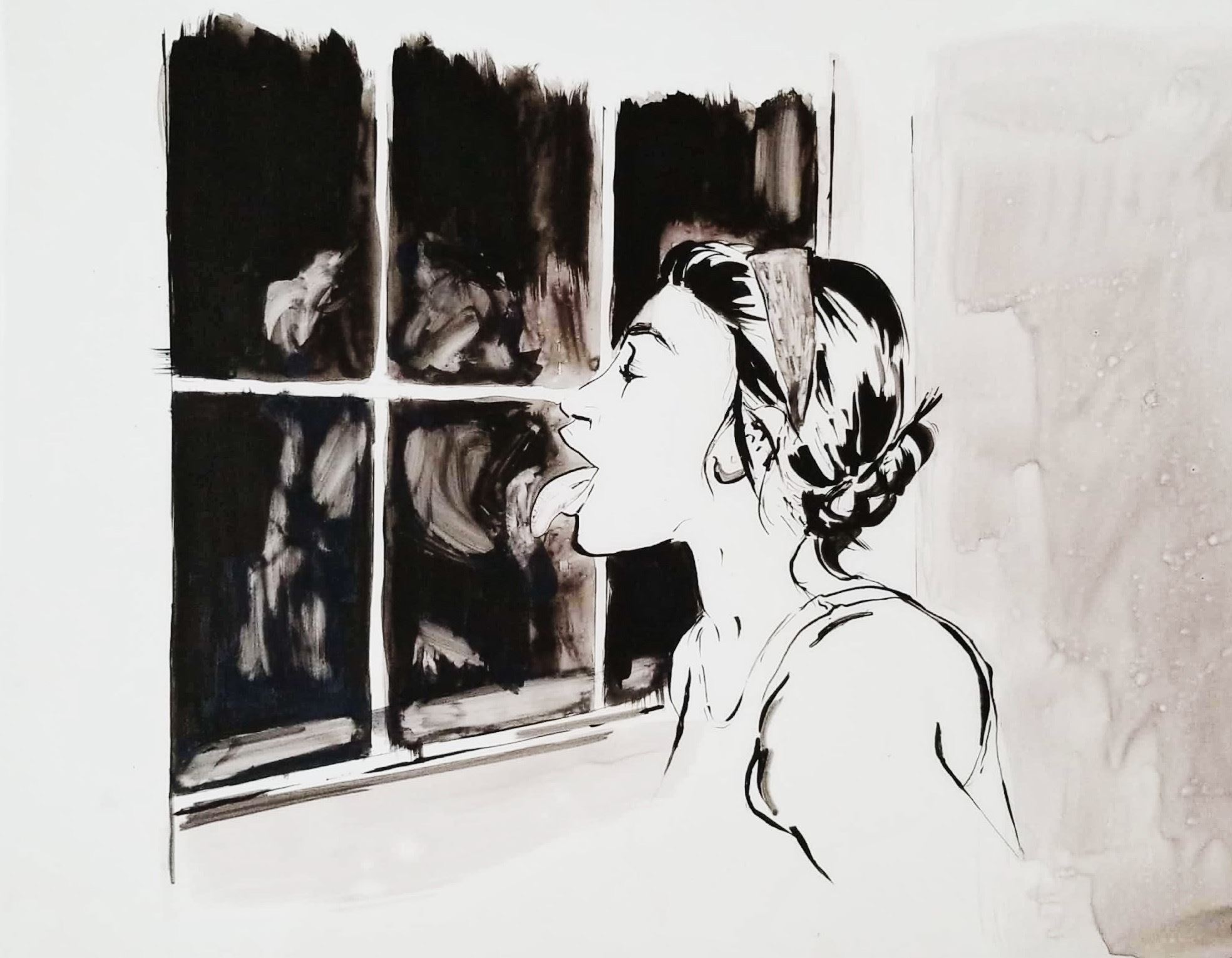 Blank and white ink painting of a woman licking a window