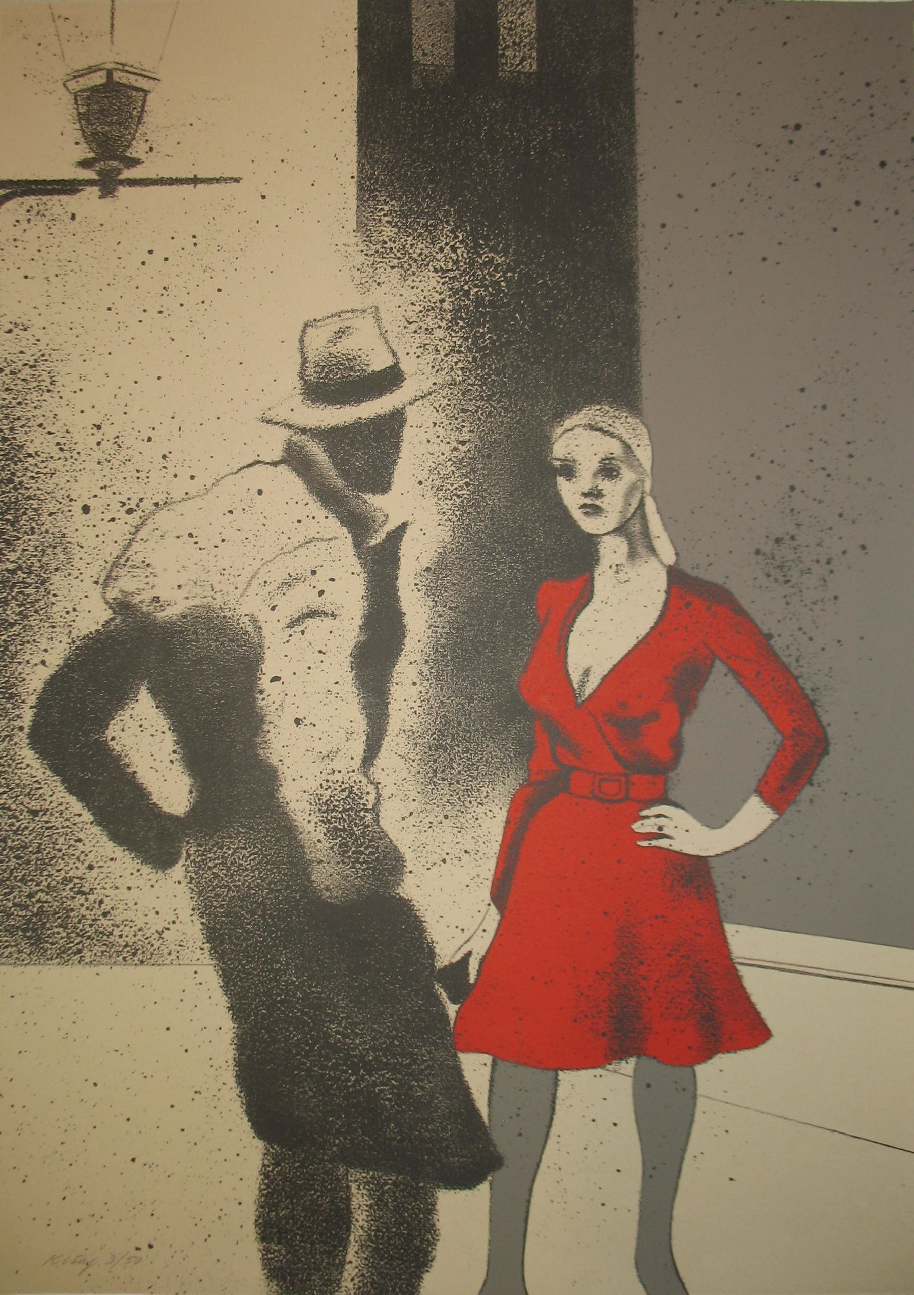 A black and white piece of art with a man and woman but the dress the woman is wearing is in red